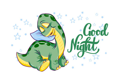 Sleeping baby dino with typography Good Night. Vector hand drawn illustration of small dinosaur. For poster, banner, logo, icon, greeting card. For nursery. Brontosaurus and lettering. Isolated.