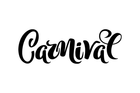 Carnival hand drawn lettering for Brasil carnaval, Mardi Gras, Spain carnival festival concept for celebration poster, banner, logo, icon, printing. Vector typography isolated, without background.