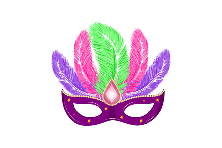 Vector hand drawn carnival mask with feathers for Brasil carnaval, Mardi Gras, Spain or Venice carnival festival concept for celebration poster, banner. Vector typography isolated wwithout background. Illustration