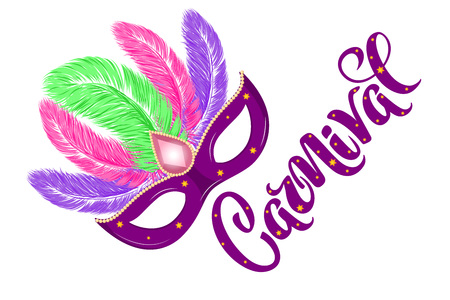 Vector hand drawn carnival mask with feathers and lettering Carnival for Brasil carnaval, Mardi Gras, Spain carnival festival concept for celebration poster, banner. Vector typography isolated.