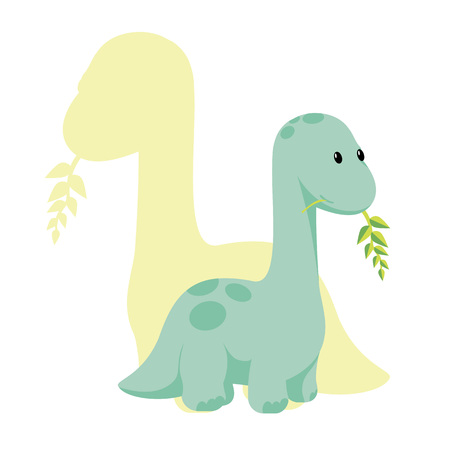 Vector baby dino flat style icon and its silhouette - diplodocus or brontosaurus - for logo, poster, banner. For historic event, dinosaur party invitation, fashion textile design. Isolated on white.