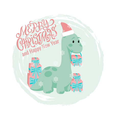 Vector Christmas or New Year greeting card with hand drawn lettering Merry Christmas, flat baby dino brontosaurus with gift boxes and textured background for holiday poster, dinosaur banner, printing