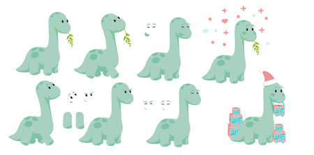 Baby dino diplodocus character design set with emotions and movement with Christmas and Valentines or love concepts for site, info graphic, video, animation, websites, e-mails, newsletter, promo.