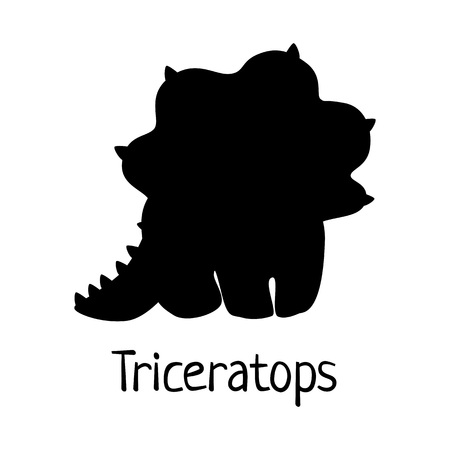 Vector baby dino silhouette - triceratops - for logo, poster, banner. For historic event, dinosaur party invitation, fashion textile design. Isolated on white.  イラスト・ベクター素材