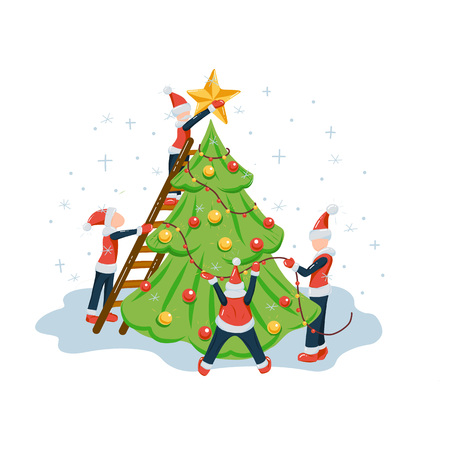 People or elfs in santa costumes decorating the Christmas tree by star, balls and garlands. New year and Christmas holiday flat style illustration for poster, celebration invitation or greeting card.