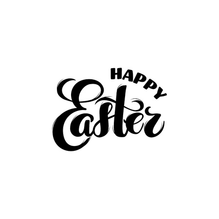 Vector Happy Easter hand drawn typography for spring holiday poster, banner, celebration printing. easter promo, sales, template for easter materials, isolated on white. Resurrection Sunday postcard.