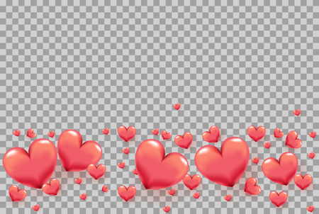 3D hearts as frame on transparent background for Valentines Day greeting card, holiday poster, banner, invitation, sales or promo. Love theme for wedding decoration with pink hearts on borders