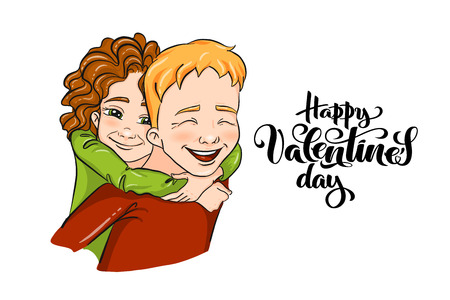 Vector romantic illustration - girl and boy piggybacking and hugging - for love confession, Valentines day greeting card, holiday poster, banner, logo. Couple of young people, family, playing kids.
