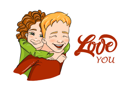 Vector romantic illustration - girl and boy piggybacking and hugging - for love confession, Valentine's day greeting card, holiday poster, banner, logo. Couple of young people, family, playing kids.
