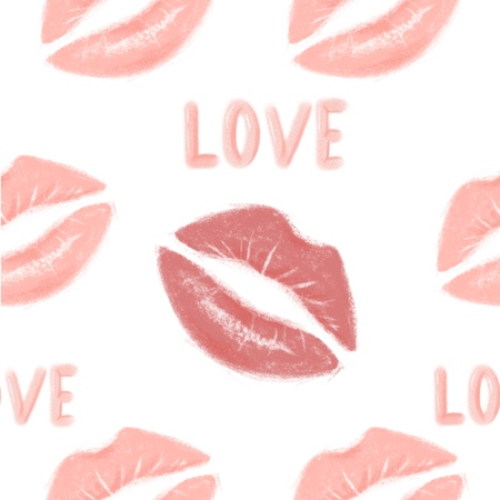 Lipstick imprint seamless pattern, lips in kiss for Valentines Day goods design, love confession, wedding invitation, paper print, fashion textile, shop for adults. Kiss pattern for romantic products.