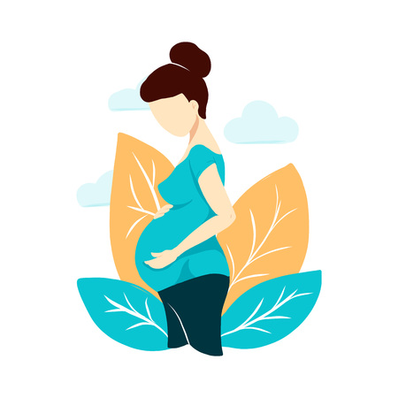 Vector flat style pregnant woman on white on Mothers Day card. Composition with leaves and clouds. Female waiting for a child for babycare site, birthing center, maternity home, doula, mom health. Illustration