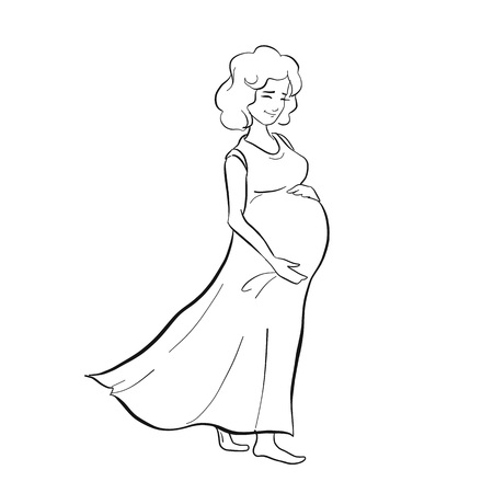 Vector line art pregnant woman isolated on white background. Female waiting for a child for babycare site, birthing center, maternity home, doula, mom health, future mother holding her belly in arms. Illustration
