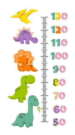 Grafico a parete altezza vettoriale decorato con dinosauri dei cartoni animati - brontosauro, triceratopo, tirannosauro, pterodattilo, stegosauro - e numeri. Illustrazione in stile piatto per la misura della crescita dei bambini