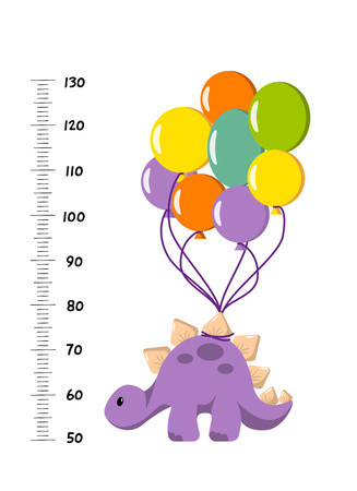 Vector height wall chart decorated with cartoon dinosaur - stegosaurus with balloons- and numbers. Illustration in flat style for children growth measurement, a gift for baby birth or baby shower