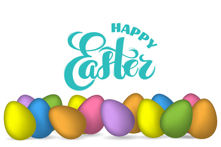 3D vector Easter eggs with hand drawn text Happy Easter for greeting card, holiday poster, banner, invitation Easter sales or promo, spring event. Holiday Pascha, Resurrection Sunday, brush lettering
