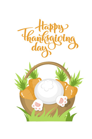 Vector Happy thanksgiving day autumn text and basket with carrots and white bunny bottom for thanksgiving dinner invitation, holiday card, poster, banner Isolated celebration quote for event concept