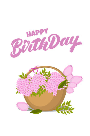 Vector hand drawn lettering Happy birthday with flat icon of basket with flowers for post card, poster, banner, logo. Modern typography. Isolated without background For birthday party invitation