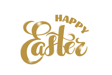 Vector hand drawn text Happy Easter - golden letters with sparkles for greeting card, holiday poster, banner, invitation, Easter sales or promo, spring event. Holiday Pascha, Resurrection Sunday.