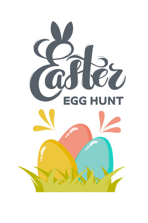 Vector flat Easter eggs with hand drawn text Easter egg hunt for greeting card, holiday poster, banner, invitation, Easter promo, spring event. Holiday Pascha, Resurrection Sunday, eggs hunting party.  イラスト・ベクター素材