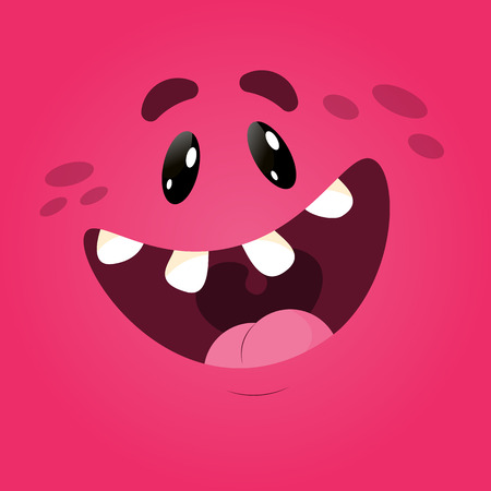 Vector funny moster square monster faces with different emotions, smiles, emoticon set for messenger, sticker, social media, animation, comic, newsletter, poster, banner, logo icon avatar  イラスト・ベクター素材