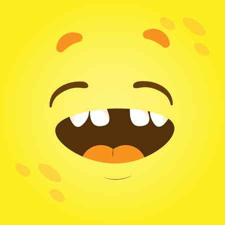 Vector funny moster square monster faces with different emotions, smiles, emoticon set for messenger, sticker, social media, animation, comic, newsletter, poster, banner, logo icon avatar 向量圖像