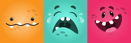 Vector funny square monster faces with different emotions, smiles, emoticon set for messenger, sticker, social media, animation, comic, newsletter, poster, banner, logo icon avatar For April 1