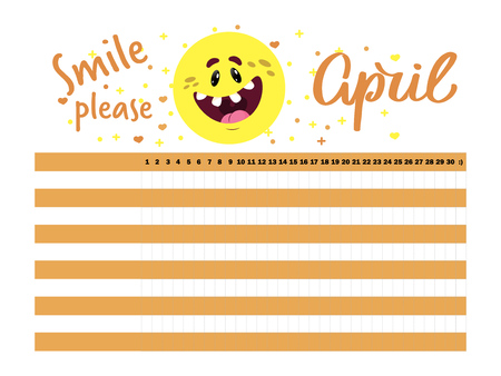 Vector graphic April bullet journal or habit tracker template for planning everyday activities and making them habits, diary, . With smiling face for improving mood and with hand drawn text April
