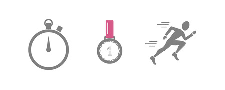 Vector set of running sport icons - jogging person, medal of winner, sport timer - for sport team, runner club, triathlon marathon for logo, icon, poster, banner, sport event promo, competition art. Illustration