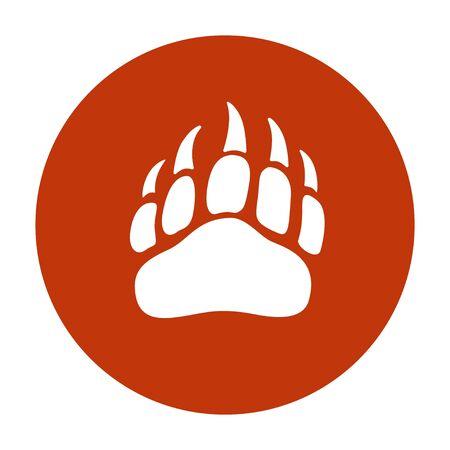 Silhouette de pas de patte d'ours de vecteur pour, icône, affiche, bannière. Empreinte de patte d'animal sauvage avec des griffes. La piste de l'ours, empreinte. Histoire de la faune, problèmes d'écologie, signe des chasseurs, symbole des hommes courageux Vecteurs