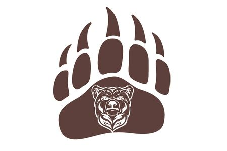 Bear Head Mascot, vector bear , Hand drawn maori tattoo style, for emblem, illustration, poster, icon, label, logotype, isolated, on white background. Wild animal silhouette of bear paw with claw.  イラスト・ベクター素材