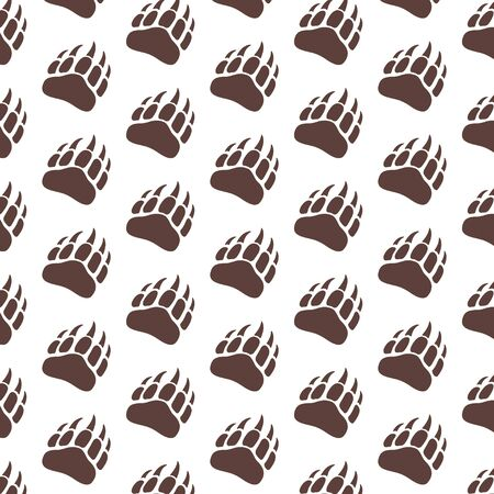 Vector bear paw footstep silhouette pattern for background, icon, poster, banner. Wild animal paw print with claws. The trail of bear, imprint. Wildlife story, problems of ecology, sign of hunters.  イラスト・ベクター素材