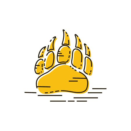 Vector bear paw footstep silhouette for , icon, poster, banner. Wild animal paw print with claws. The trail of bear, imprint. Wildlife story, problems of ecology, sign of hunters, brave men symbol