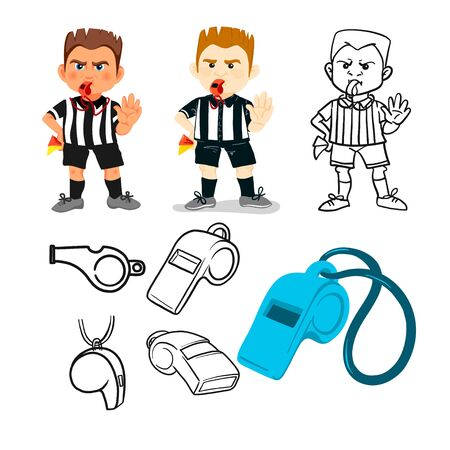 Whistling soccer referee showing stopping hand during match, human character vector illustration. Sport hand drawn cartoon, football arbitrator, whistle icon soccer judge, football coach, police blow.