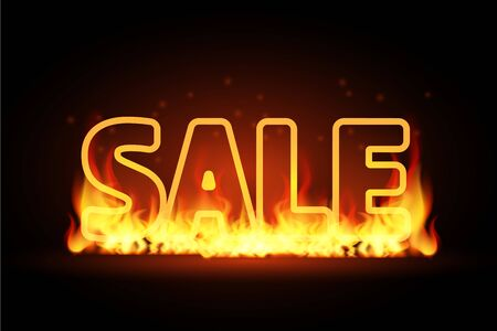 Realistic 3D Fire burning text Hot Sale, special offer banner. Hot red flame glowing on black barckground. For seasonal discount poster, illustration, flyer, black friday advertisement template.