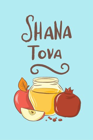 Rosh Hashanah Jewish new year holiday card with hand drawn lettering Shana Tova with outline apple, honey and pomegranate illustration for poster, banner, greeting card, harvest holiday invitation