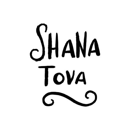 Rosh Hashanah Jewish new year holiday card with hand drawn lettering Shana Tova for poster, banner, greeting card, harvest holiday invitation. Vector illustration, isolated without background