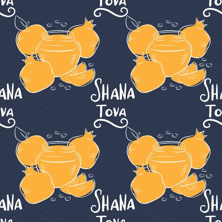 Rosh Hashanah Jewish new year holiday seamless pattern with hand drawn lettering Shana Tova and outline apple, honey and pomegranate illustration for poster, greeting card, harvest holiday invitation