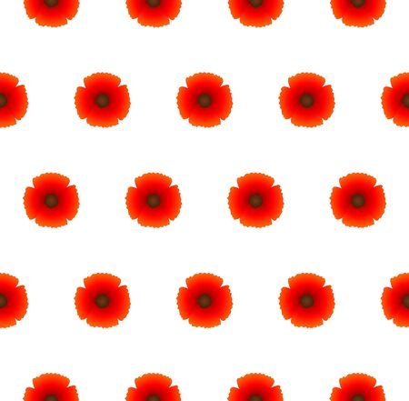 Poppy red flower seamless pattern, vector illustration, floral background for textile, printing, summer dress, Remembrance day as symbol of peace, garden bouquet shop ad, botanical colorful wallpaper Ilustração