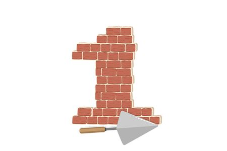 Numeric figure decorated red brick wall with hand trowel icon. Textured brown brick wall pattern for printing, mock-up, poster, banner, promo, sales. Blocks for architecture project, Masonry project.
