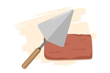 Red brick and Vector flat style hand trowel icon isolated without background, metal blade for building, masonry work, equipment for laying bricks for icon, logo, poster, banner.