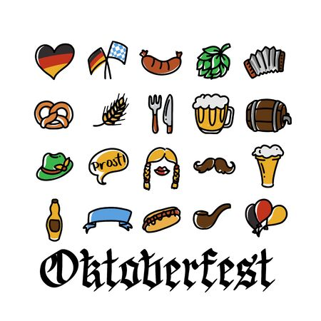 Vector hand drawn Oktoberfest icons for holiday poster, invitation, autumn Bavarian festival of beer banner, photo booth, German culture materials, accessories for festival and party, squeezebox. Ilustração