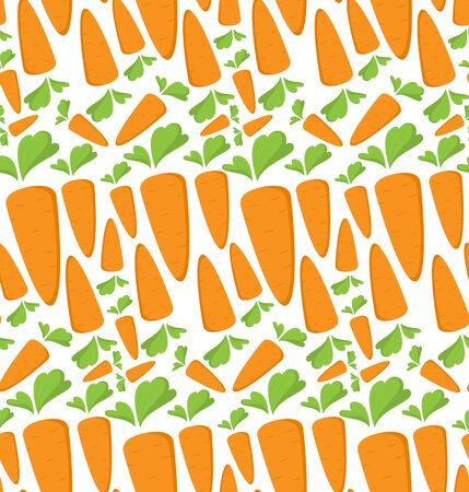 Carrot Seamless Pattern with flat orange vegetable, cartoon food illustration. Trendy background ornament. Cute print for menu, wallpaper, 100 vegan or vegetarian diet, textile design, easter, eco. Ilustração