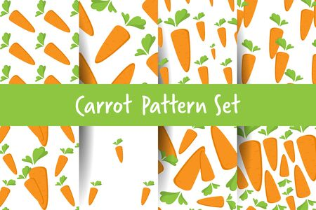 Carrot Seamless Pattern set with flat orange vegetable, cartoon food illustration. Trendy background ornament. Cute print for menu, wallpaper, 100 vegan or vegetarian diet, textile design, easter, eco.
