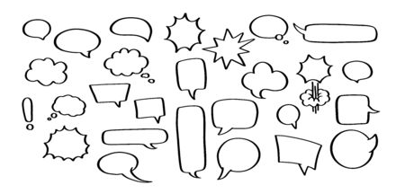 Vector set of hand drawn speech bubbles. Empty comic sticker without text of different shapes - square, circle or round, cloud, boom and bam, rectangle message. Blank doodle tag for price of dialogue. Ilustração