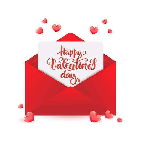 Valentines Day calligraphy on paper within red envelope with 3d realistic hearts for sale poster, February 14 greeting card, love invitation, promo message, romantic Happy Valentines day vector font