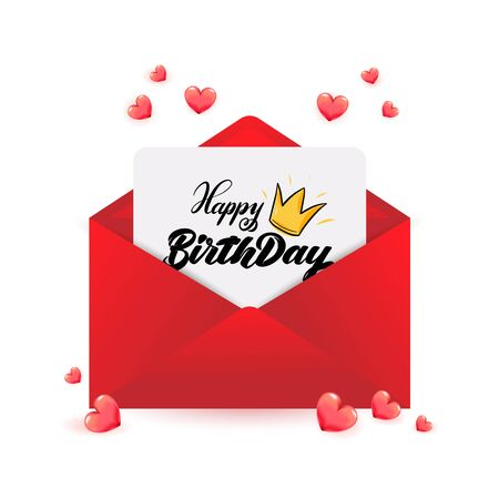 Happy Birthday calligraphy with crown on paper within red envelope with 3d realistic hearts for sale poster, anniversary greeting card, love invitation, promo message, queen romantic vector font.