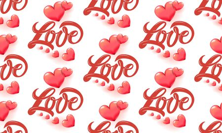 Love and 3D heart pattern with graffiti style typography for scapbooking paper, St. Valentines day romantic greeting card, birthday or wedding celebration gift, fashion textile print, background sale