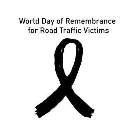 World Day of Remembrance for Road Traffic Victims poster with textured sign of awareness black ribbon with text for memorial day, 3rd sunday of November, vector art for campaign poster, car crash