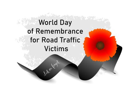 World Day of Remembrance for Road Traffic Victims poster with red poppy flower and black ribbon with text Lest we forget on textured background for memorial day, 3rd sunday of November, vector art. Ilustração