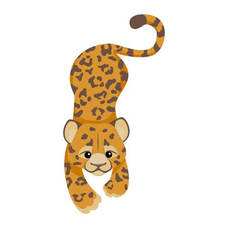Cheetah or Leopard or jaguar cartoon character. Cute baby animal in flat style. Modern and trendy textile fashion style. Tropical animal in african jungle, wild cat isolated on white. Vector, t-shirt Ilustração